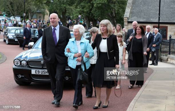 Wife Pat arrives with the funeral cortege of British football legend Jack Charlton at West Road Crematorium in Newcastle om July 21 2020 Jack...