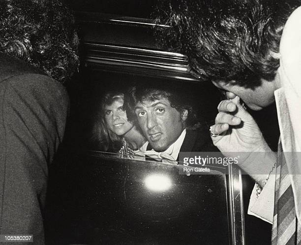 Wife Sasha Czack Stallone and Sylvester Stallone during Rhinestone New York City Premiere at Coronet Theater in New York City NY United States