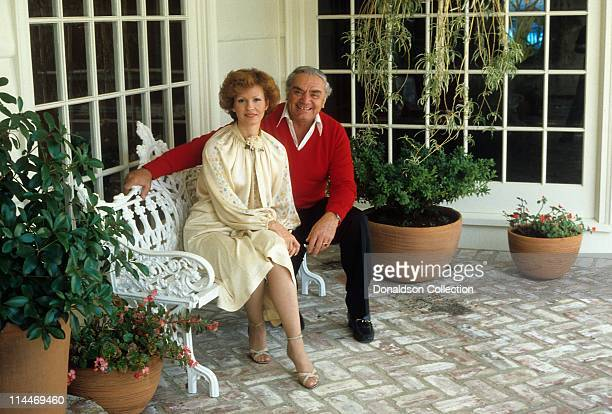 Wife Tova Traesnaes Actor Ernest Borgnine pose for a portrait in circa 1985 in Los Angeles California