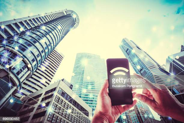 Wifi icon and city scape and network connection concept, Smart city