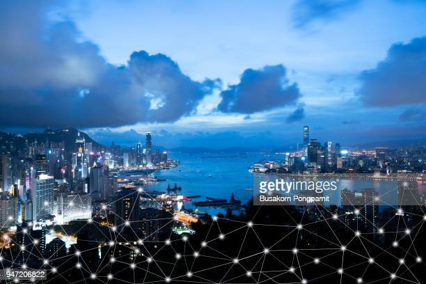 wifi icon and city scape and network connection concept, smart city - building icon stock photos and pictures