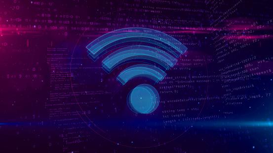 Wi-fi sign communication concept on digital background 3D illustration 1098315108