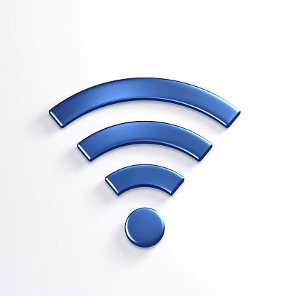 WiFi Wireless Symbol. 3D Blue Render Illustration 904389204