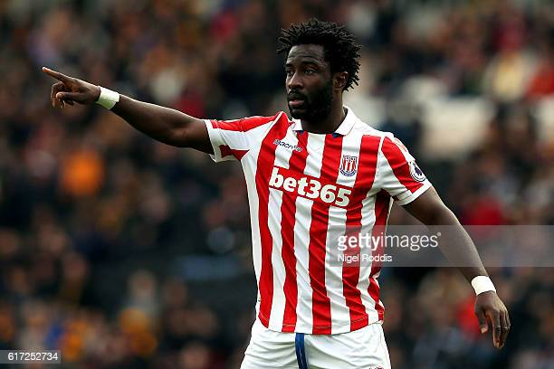 Wifried Bony of Stoke City in action during the Premier League match between Hull City and Stoke City at the KCom Stadium on October 22 2016 in Hull...