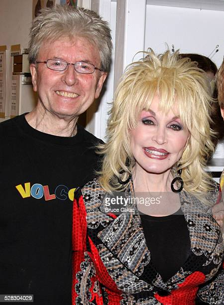 Wig Designer Paul Huntley and Dolly Parton pose backstage at the hit new musical 9 to 5 on Broadway at The Marquis Theatre on April 13 2009 in New...