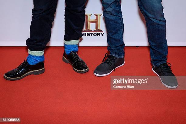 Wigald Boning and Fritz Meinecke attend the preview screening of the new series 'Wigald Fritz Die Geschichtsjaeger' by the German TV channel HISTORY...