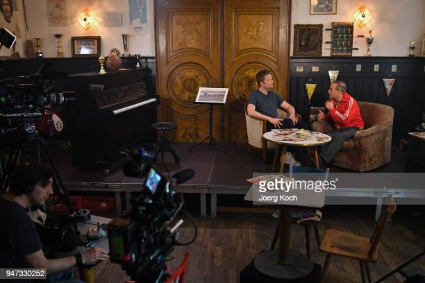 Wigald Boning and Ronny Blaschke are seen on set during the shooting for the new documentary 'Deutschland Deine Fussballseele' by the German TV...