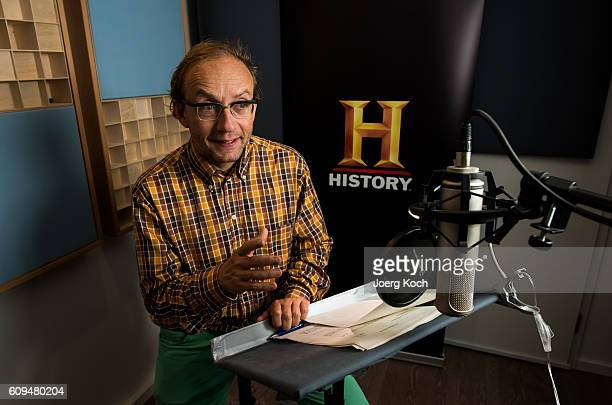Wigald Boning is seen at the sound studio for the new series 'Wigald Fritz Die Geschichtsjaeger' by the German TV channel HISTORY on September 19...