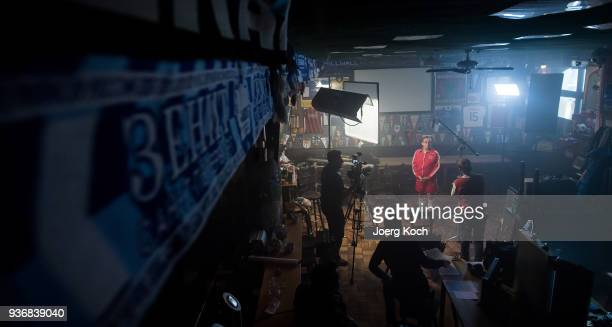 Wigald Boning is seen on set at sports bar 'Stadion an der Schleissheimerstrasse' during the shooting for the new documentary 'Deutschland Deine...