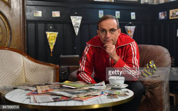 Wigald Boning is seen on set during the shooting for the new documentary 'Deutschland Deine Fussballseele' by the German TV channel HISTORY at...