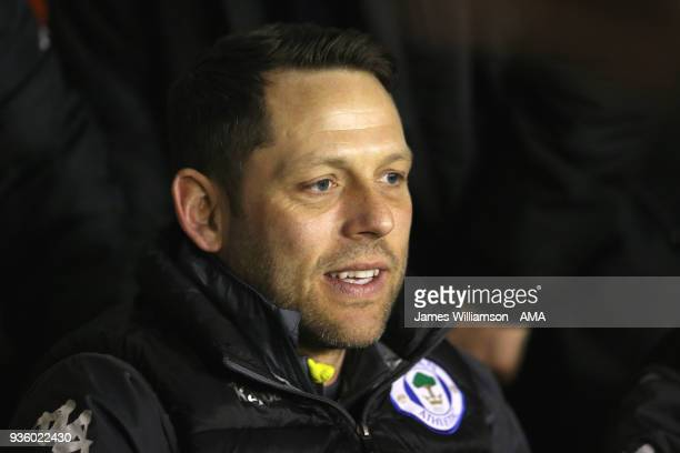 Wigan Athletic assistant manager Leam Richardson during the Sky Bet League One match between Wigan Athletic and Walsall at Banks' Stadium on March 23...