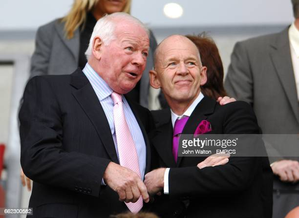 Wigan Athletic Chairman Dave Whelan and West Ham United Chairman Eggert Magnusson prior to the game