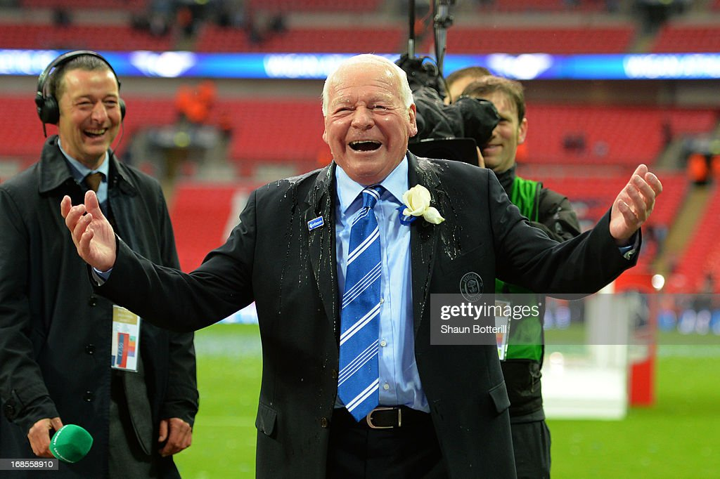 Wigan Athletic chairman Dave Whelan is showered in champagne as he celebrates following his team's 1-0 victory during the FA Cup with Budweiser Final between Manchester City and Wigan Athletic at Wembley Stadium on May 11, 2013 in London, England.