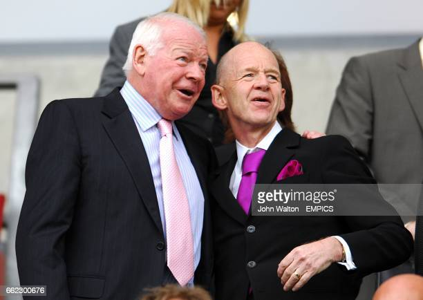 Wigan Athletic Chairman Dave Whelan talks to West Ham United Chairman Eggert Magnusson prior to the game