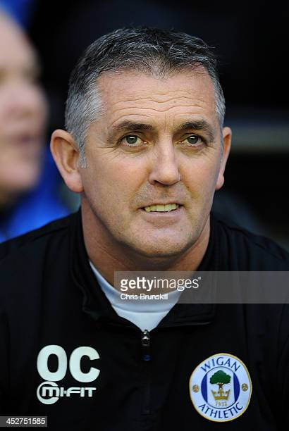 Wigan Athletic manager Owen Coyle looks on during the Sky Bet Championship match between Wigan Athletic and Derby County at DW Stadium on December 01...