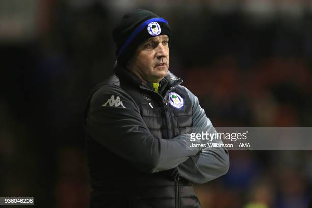Wigan Athletic manager Paul Cook during the Sky Bet League One match between Wigan Athletic and Walsall at Banks' Stadium on March 23 2018 in Walsall...