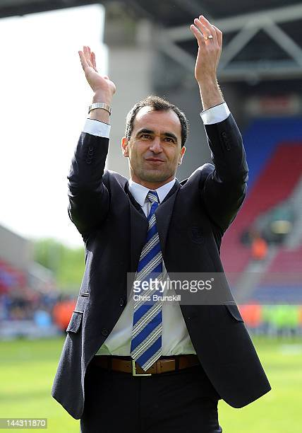 Wigan Athletic manager Roberto Martinez applauds the supporters following the Barclays Premier League match between Wigan Athletic and Wolverhampton...