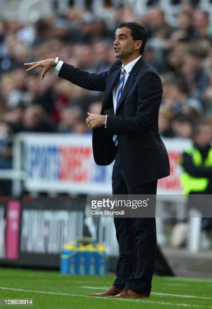 Wigan Athletic manager Roberto Martinez gives instructions to his team during the Barclays Premier League match between Newcastle United and Wigan...