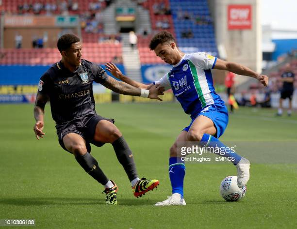 Wigan Athletic's Antonee Robinson and Sheffield Wednesday's Liam Palmer battle for the ball Wigan Athletic v Sheffield Wednesday Sky Bet Championship...