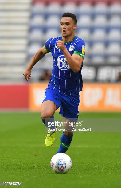 Wigan Athletic's Antonee Robinson during the Sky Bet Championship match between Wigan Athletic and Fulham at DW Stadium on July 22 2020 in Wigan...