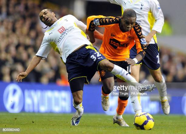 Wigan Athletic's Charles N'Zogbia fouls Tottenham Hotspur's Benoit AssouEkotto during the Barclays Premier League match at White Hart Lane London
