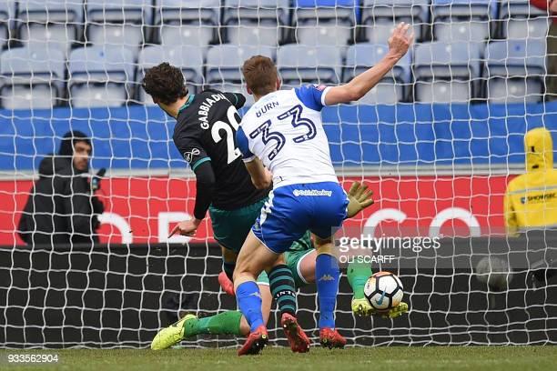 Wigan Athletic's English goalkeeper Christian Walton makes a save from Southampton's Italian striker Manolo Gabbiadini during the English FA Cup...