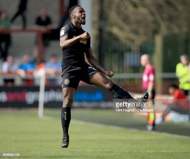 Wigan Athletic's Gavin Massey celebrates after he scores his sides second goal during the Sky Bet League One match at Highbury Stadium Fleetwood