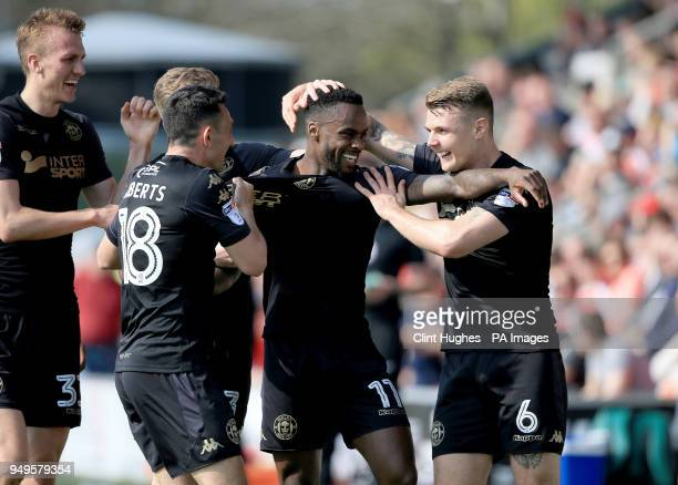 Wigan Athletic's Gavin Massey celebrates with his teammates after he scores his sides second goal during the Sky Bet League One match at Highbury...