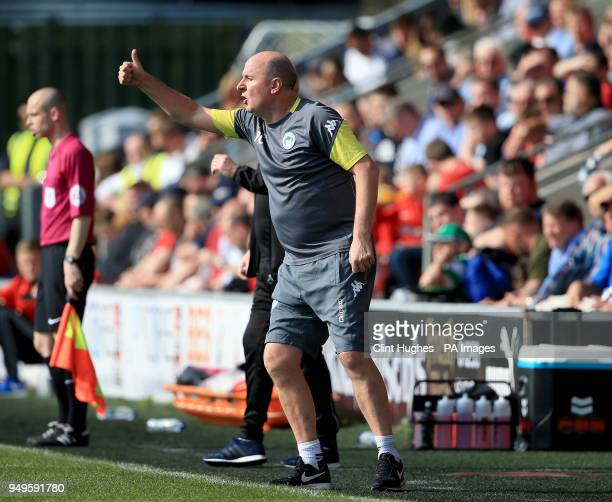 Wigan Athletic's manager Paul Cook during the Sky Bet League One match at Highbury Stadium Fleetwood
