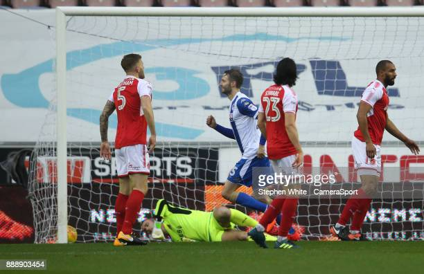 Wigan Athletic's Nick Powell celebrates scoring the opening goal during the Sky Bet League One match between Wigan Athletic and Fleetwood Town at DW...
