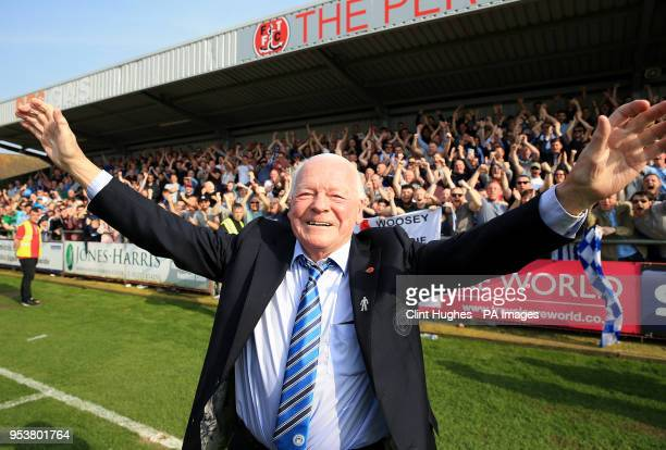 Wigan Athletic's owner David Whelan celebrates his sides promotion to the EFL Championship