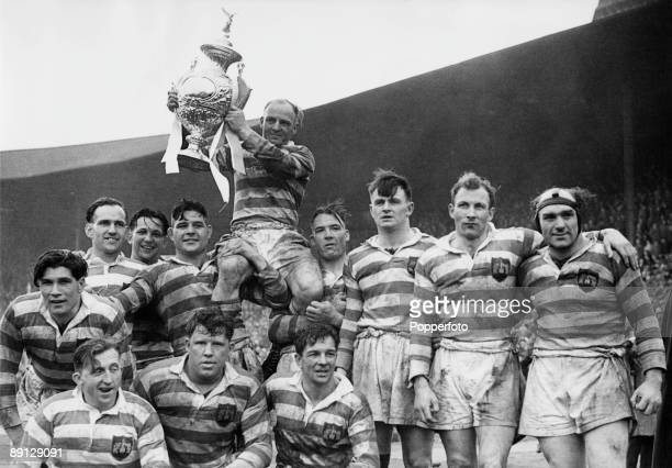 Wigan captain Cecil Mountford is chaired by his team after their 100 victory over Barrow to win the Rugby League Challenge Cup at Wembley Stadium...