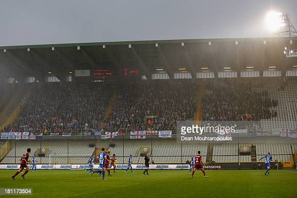 Wigan fans cheer in the top tier of the stand during the UEFA Europa League Group D match between SV Zulte Waregem and Wigan Athletic at the Jan...