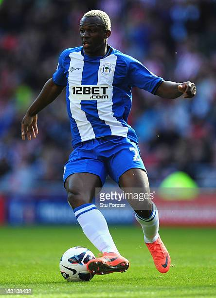 Wigan forward Arouna Kone in action during the Barclays Premier League game between Sunderland and Wigan Athletic at Stadium of Light on September 29...