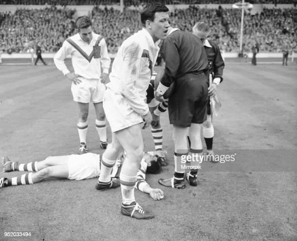 Wigan full back Bolton lies on the ground concussed after the half time whistle had blown during the Rugby League Cup Final against Wakefield Trinity...