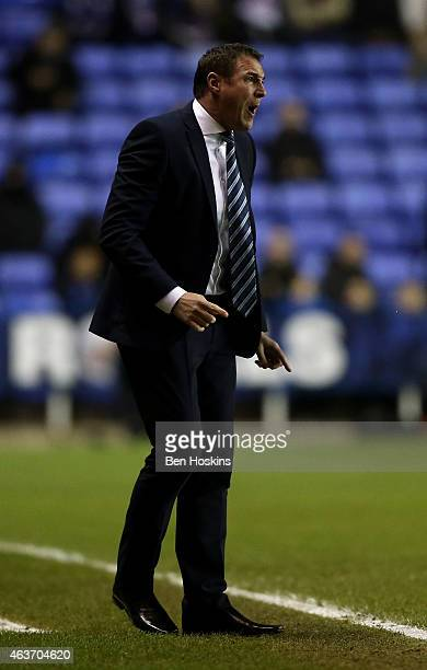 Wigan manager Malky Mackay gives instructions during the Sky Bet Championship match between Reading and Wigan Athletic at Madejski Stadium on...
