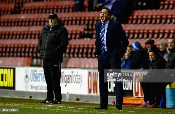 Wigan manager Malky Mackay shouts from the touchline during the Sky Bet Championship match between Wigan Athletic and Cardiff City at DW Stadium on...