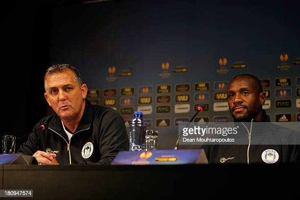 Wigan Manager Owen Coyle and Captain Emmerson Boyce speak to the media during the Wigan Athletic Press Conference prior to the Europa League match...
