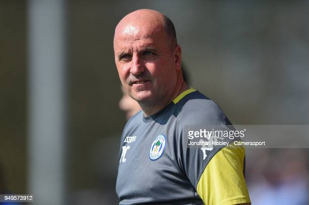 Wigan manager Paul Cook during the Sky Bet League One match between Fleetwood Town and Wigan Athletic at Highbury Stadium on April 21 2018 in...