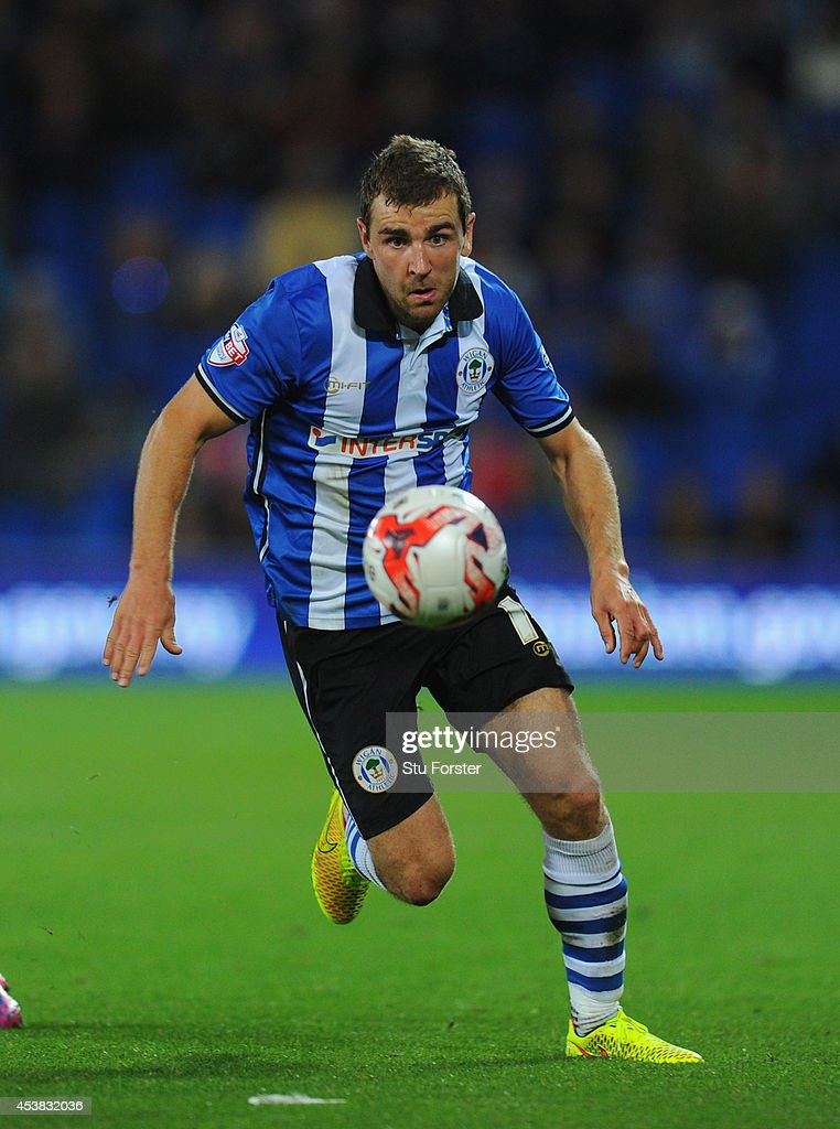 Wigan player James McArthur in action during the Sky Bet Championship match between Cardiff City and Wigan Athletic at Cardiff City Stadium on August 19, 2014 in Cardiff, Wales.
