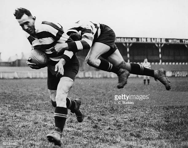 Wigan Rugby players McDowell and Bradley training at Widnes for the Rugby League Cup Final at Wembley 3rd May 1937