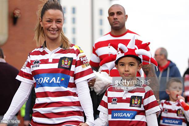 Wigan Warriors arrive at Old Trafford Stadium prior to the First Utility Super League Grand Final between Leeds Rhinos and Wigan Warriors at Old...