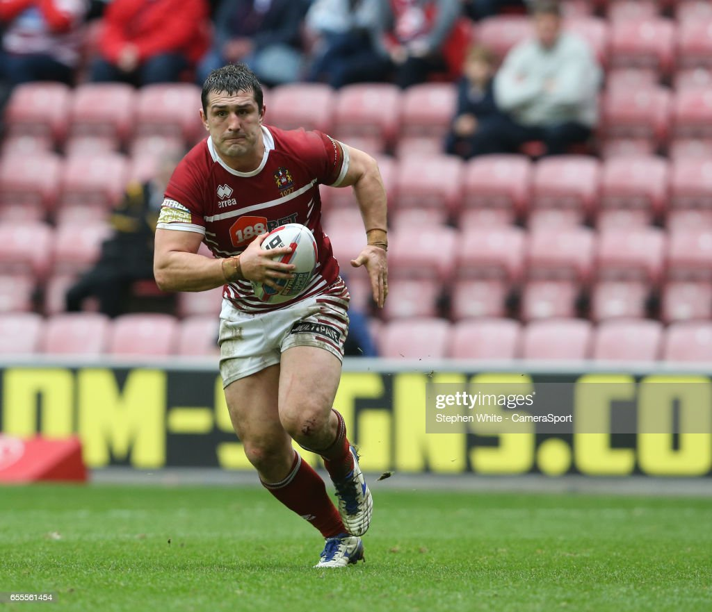 Wigan Warriors' Ben Flower during the Betfred Super League Round 5 match between Wigan Warriors and Huddersfield Giants at DW Stadium on March 19, 2017 in Wigan, England.