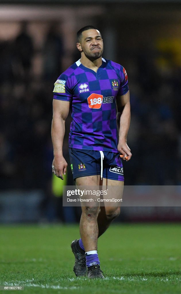 Wigan Warriors' Frank-Paul Nu'uausala looks dejected at the end of the game at the Betfred Super League Round 7 match between Leeds Rhinos and Wigan Warriors at Headingley Carnegie Stadium on March 31, 2017 in Leeds, England.