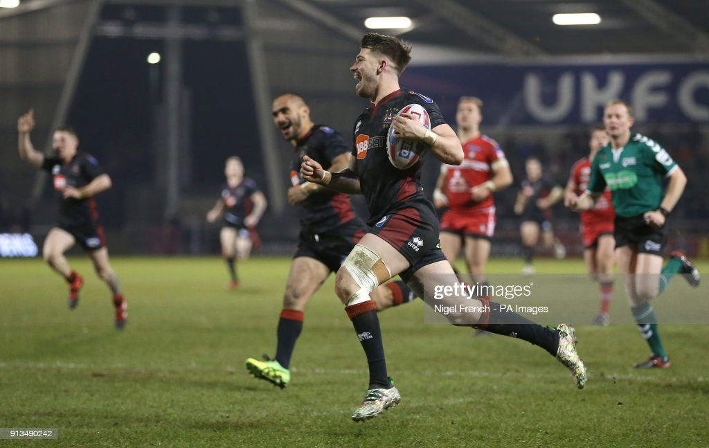 Wigan Warriors Oliver Gildart celebrates as he runs in his sides sixth try during the Betfred Super League match at the AJ Bell Stadium, Salford.