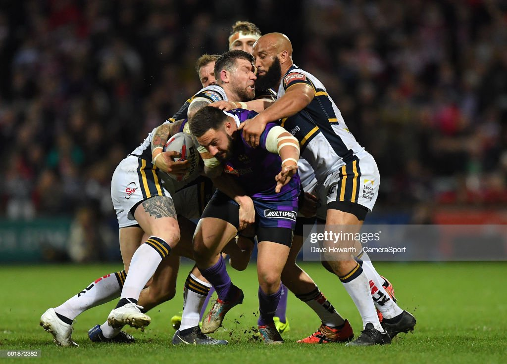 Wigan Warriors' Romain Navarrete is tackled during the Betfred Super League Round 7 match between Leeds Rhinos and Wigan Warriors at Headingley Carnegie Stadium on March 31, 2017 in Leeds, England.