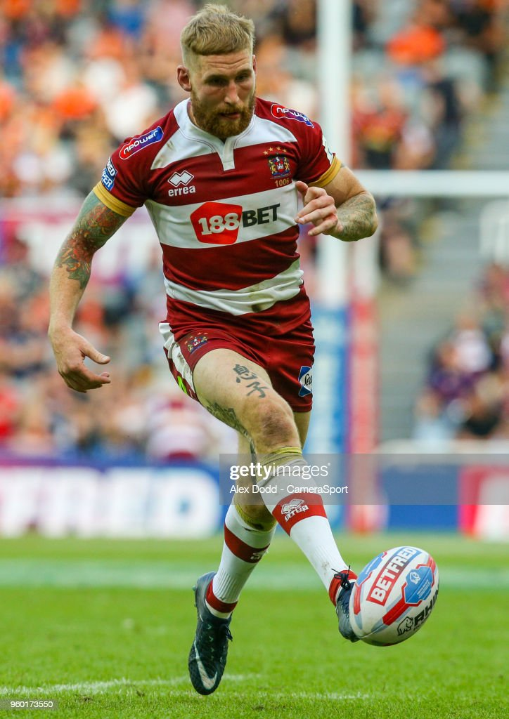 Wigan Warriors' Sam Tomkins kicks a grubber during the Betfred Super League Round 15 match between Wigan Warriors and Warrington Wolves at St James' Park on May 19, 2018 in Newcastle upon Tyne, England.