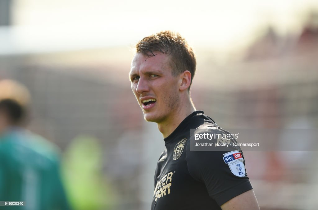 Wigans Dan Burn during the Sky Bet League One match between Fleetwood Town and Wigan Athletic at Highbury Stadium on April 21, 2018 in Fleetwood, England.