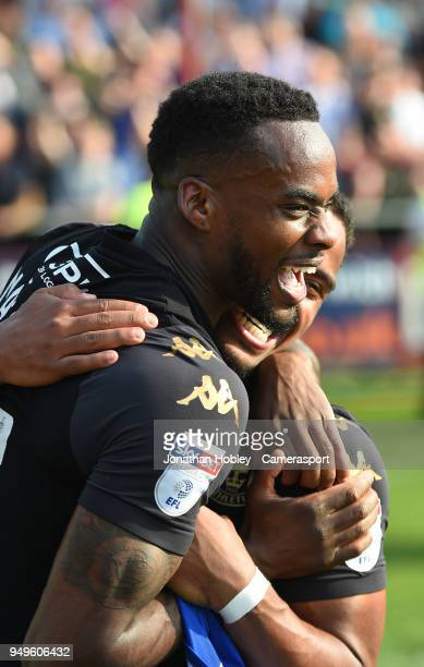 Wigan's Gavin Massey celebrates after securing promotion to the Championship during the Sky Bet League One match between Fleetwood Town and Wigan...