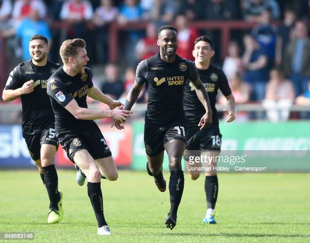 Wigans Gavin Massey celebrates scoring his side's second goal during the Sky Bet League One match between Fleetwood Town and Wigan Athletic at...